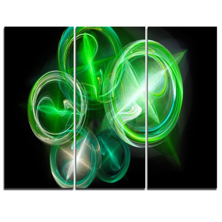 Design Art Green In Black Fractal Desktop Wallpaper   3 Piece Graphic Art On Wrapped Canvas Set