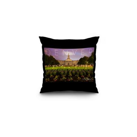City Hall Denver Halloween (Denver, Colorado - City Hall - Lantern Press Photography (16x16 Spun Polyester Pillow, Black)