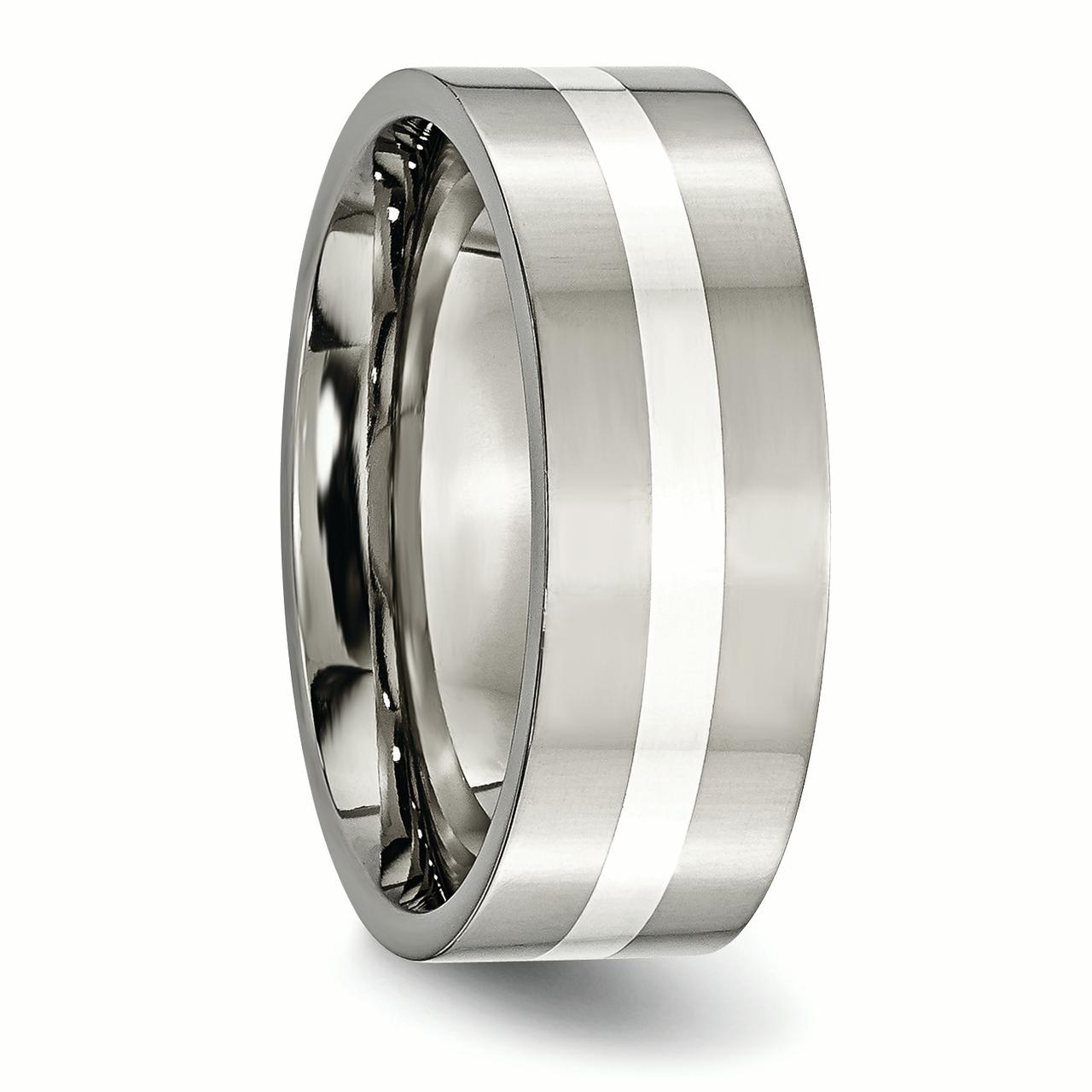 Titanium 925 Sterling Silver Inlay Flat 8mm Wedding Ring Band Size 7.00 Precious Metal Fine Jewelry Gifts For Women For Her - image 3 de 6