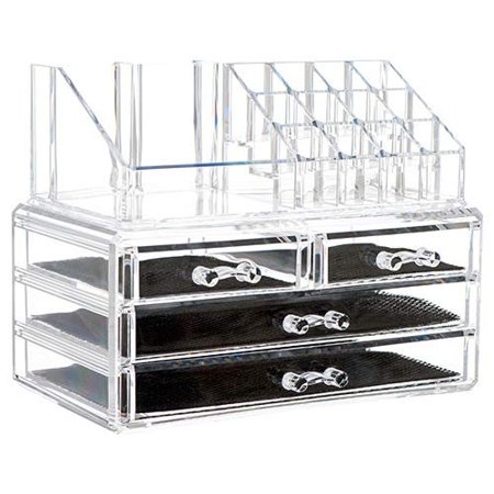 Brush Storage - 2 in 1 Durable Thick Clear Acrylic Jewelry Cosmetic Storage Organizer Drawer Makeup Box Display Holder Countertop Storage for Jewelry Cosmetics Lipsticks Brushes Home Travel Accessory Easy to Use