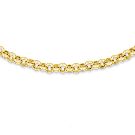 14K Yellow Gold 7 MM Polished Fancy Rolo Link Necklace, 18""