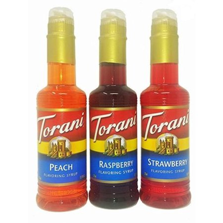 Torani Syrup Fruit Flavors 3-Pack, Raspberry, Strawberry and Peach, 12.7 Ounce Each ()