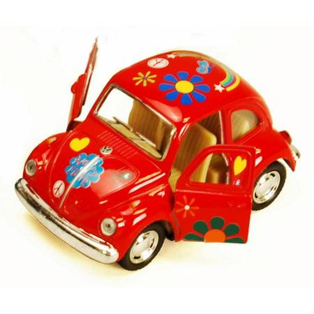 (1967 Volkswagen Classic Beetle with Decals, Red - Kinsmart 4026DF - 3.75