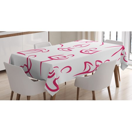 Yoga Tablecloth, Doodle Style Women Figures Various Exercise Poses Workout Health Lifestyle Bodycare, Rectangular Table Cover for Dining Room Kitchen, 60 X 84 Inches, Pink White, by Ambesonne (Exercise Table)