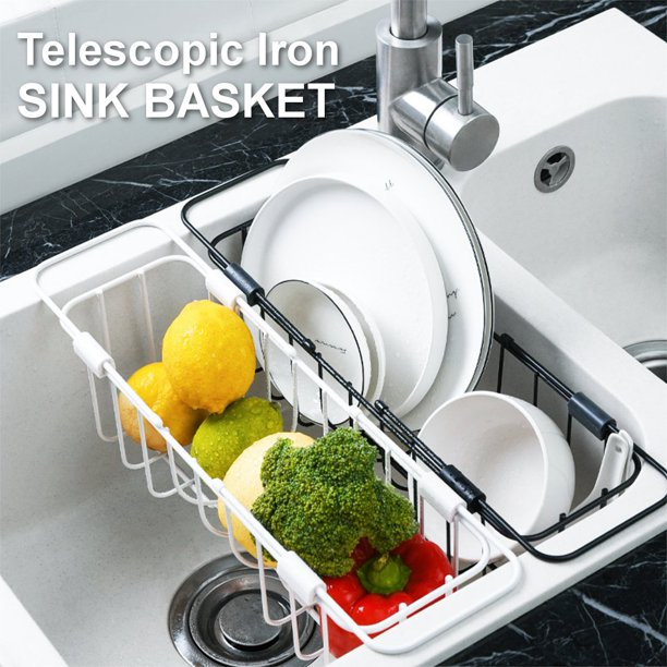 Adjustable Stainless Steel Over The Sink Dish Rack Retractable Drain Rack Stainless Steel Drain Basket Kitchen Sink Drain Rack Fruit And Vegetable Storage Basket Sink Dish Rack Walmart Com Walmart Com