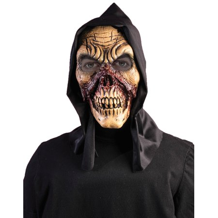 Hooded Bloody Zombie Skull Full Face Vinyl Halloween Horror Mask - Horror Face Mask