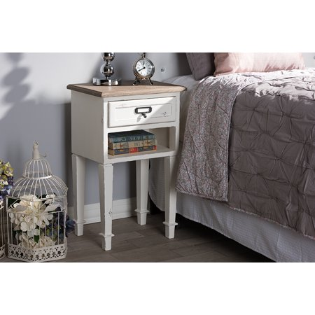 Baxton Studio Dauphine Provincial Style Weathered Oak and White Wash Distressed Finish Wood (Oak Distressed Finish)