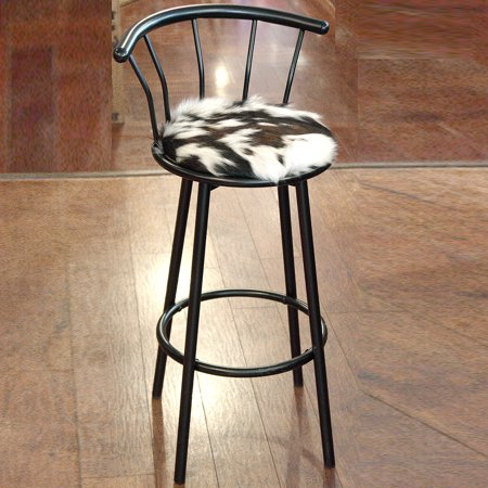 Western Leather Bar Stools - WESTERN GENUINE LEATHER COWHIDE HAIR ON BAR STOOL