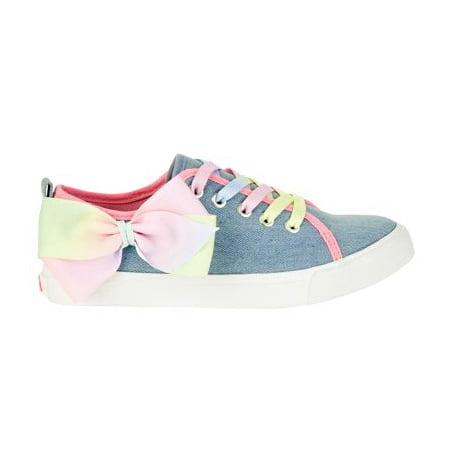Jojo Siwa Girl's Denim Lace Up Sneakers With Bow - Cute Shoes For Girls