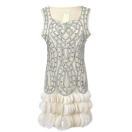 Womens Glam Beaded Heart Deco Petal Hem Flapper Inspired Mini Dress](Fringe Dress Flapper)