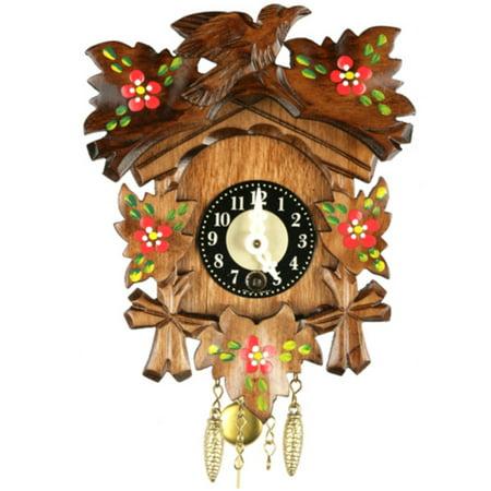 Bird and Handpainted Flowers Key Wound Cuckoo Clock