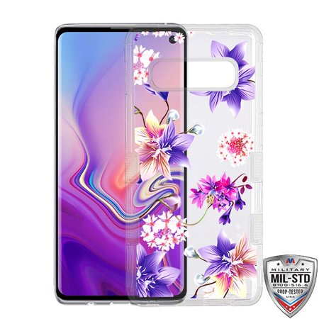 Samsung Galaxy S10 Phone Case Tuff Hybrid Shockproof Impact Rubber Bumper Cover [Impact Resistant] Protective Hard Clear Case Cover Purple Stargazers Flower Case for Samsung Galaxy S10 (6.1 - Clear Purple Housing