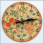 "Bon Appetit! Clock Counted Cross Stitch Kit-8""X8"" 14 Count"