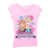 Disney Frozen Elsa and Anna Sisters Forever Girls Pink T-Shirt | 5/6