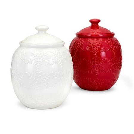 The Holiday Aisle Christmas Snowflake Cookie Jar (Set of 2)