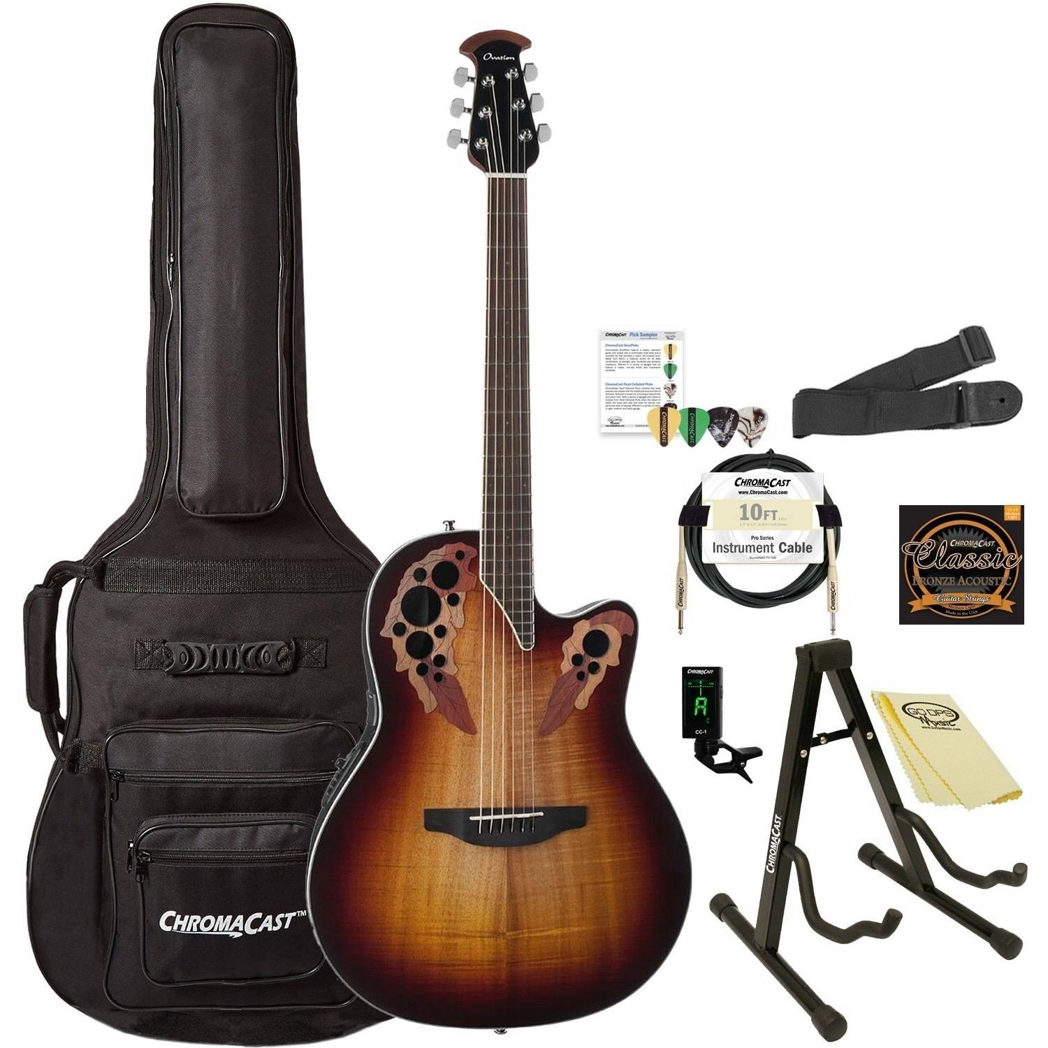 Ovation Celebrity Elite Plus CE48P-KOAB Super Shallow Acoustic-Electric Guitar (Koa Burst) with ChromaCast Accessories