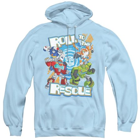 Trevco Sportswear HBRO247-AFTH-6 Transformers & Roll to the Rescue-Adult Pull-Over Hoodie, Light Blue - 3X - image 1 of 1