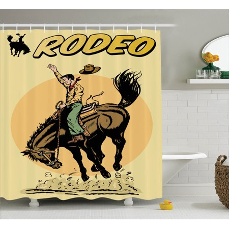 1950S Decor Shower Curtain Set, Old Style Art Of A Rodeo Cowboy Riding Horse American Wild West Artistic Work, Bathroom Accessories, 69W X 70L Inches, By Ambesonne
