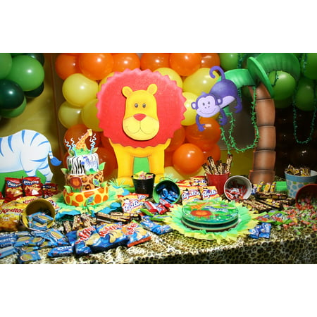 canvas print cake candies table party animals balloons stretched canvas 10 x 14 (Party Candy Table)