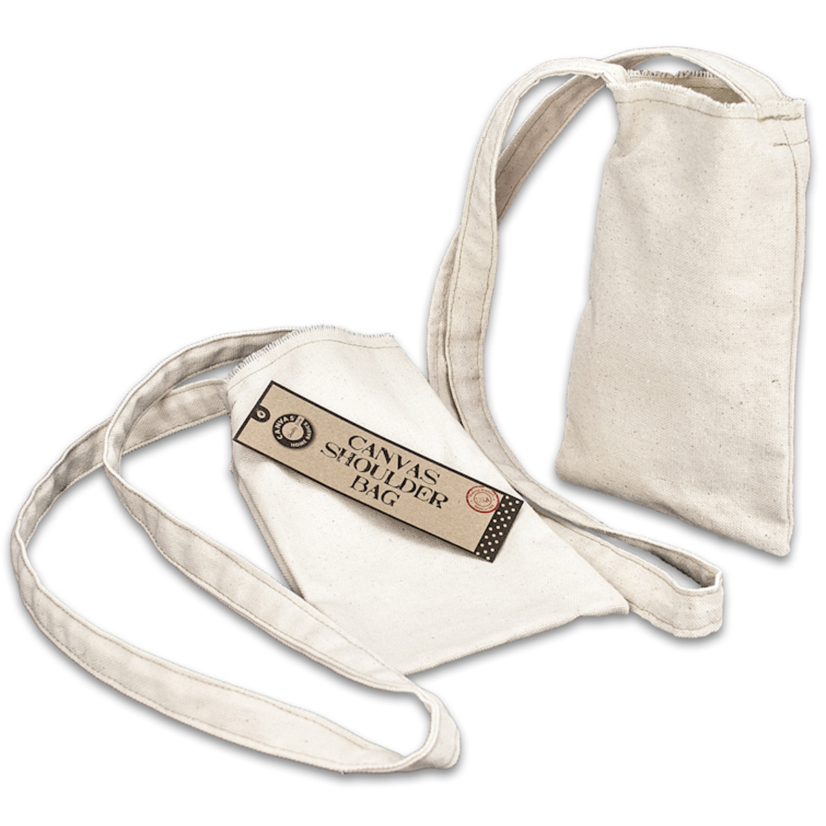 "Canvas Small Shoulder Bag, 5"" x 8"", Natural"