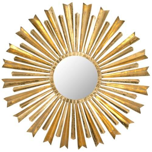 "Safavieh MIR4027A 33"" Circular Mirror Golden Arrows Sunburst Collection;Gold"