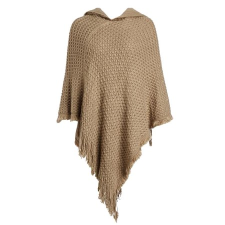 Fashion House LA Women's Cable Knit Hooded Pull Over Poncho Wrap Top With Fringe Plus One Size -