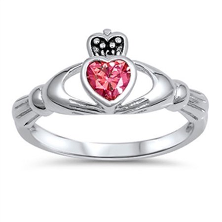 CHOOSE YOUR COLOR Friendship Simulated Ruby Claddagh Heart Ring New .925 Sterling Silver (White Gold Ruby Claddagh Ring)