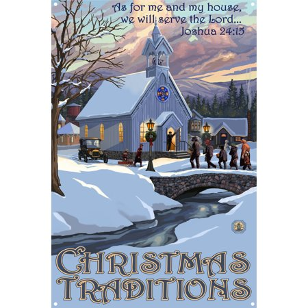 Joshua 24:15 Christmas Traditions New England Christmas Metal Art Print by Paul A. Lanquist (12