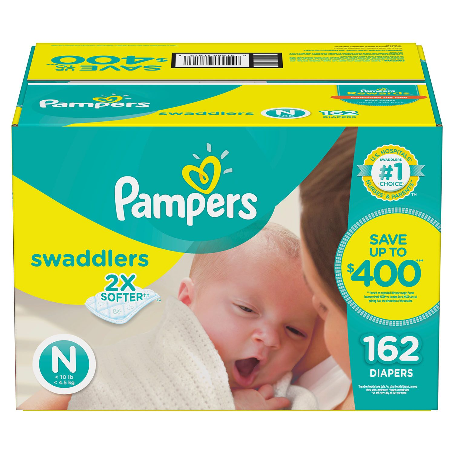 Pampers Swaddlers Diapers Size Newborn -162 ct. (Less than 10 lb.) by Pamperz