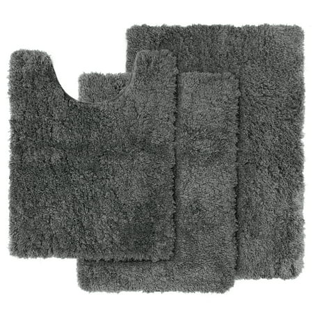 Clara Clark Set Of 3 Shaggy Bath Rug With Non Slip Backing