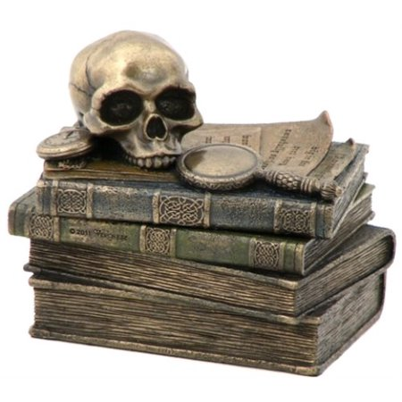 Cut Glass Trinket (4.75 Inch Wizard's Study Trinket Box with Skull and Magnifying)