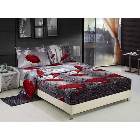 Bed Sheet Set Queen 4 Piece Paris Effiel Tower Red Umbrella Printed