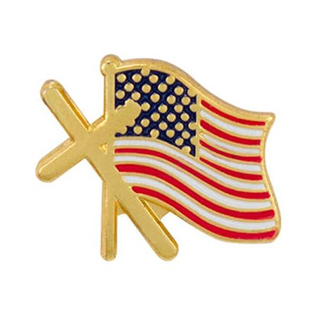 Sterling Gifts Cross and American Flag Lapel Pins Gold USA (Pkg of 12)