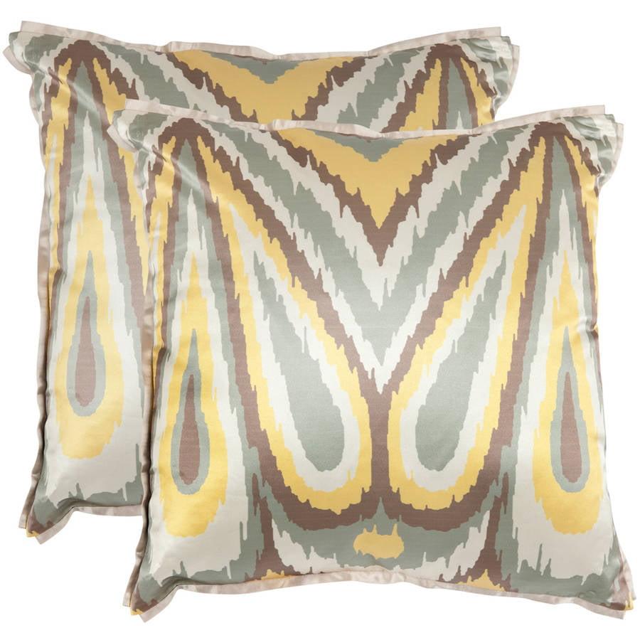 "Safavieh Keri 18"" x 18"" Yellow Pillow, Set of 2"