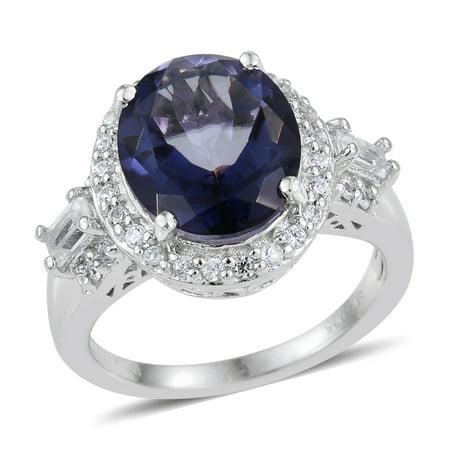 Tanzanite Quartz Multi Gemstone Rhodium Plated Silver Fashion Ring For Women 4.7 Cttw