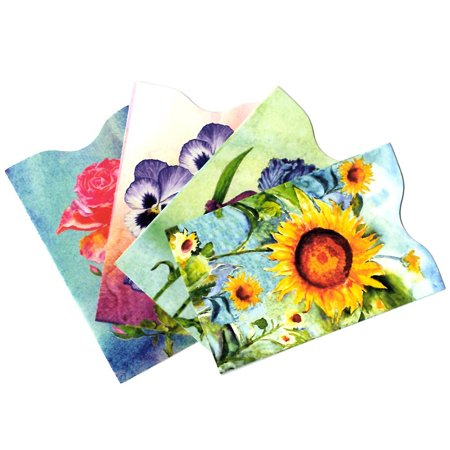 Flower Floral RFID Secure Data Theft Protection Credit Card Sleeves Set of 4 (Best Rfid Protection Sleeves)
