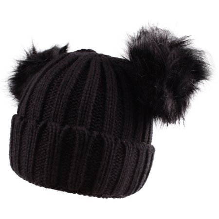 37cc82323 Enimay Women's Winter Cable Knitted Faux Fur Double Pom Pom Beanie Hat 0511  Black