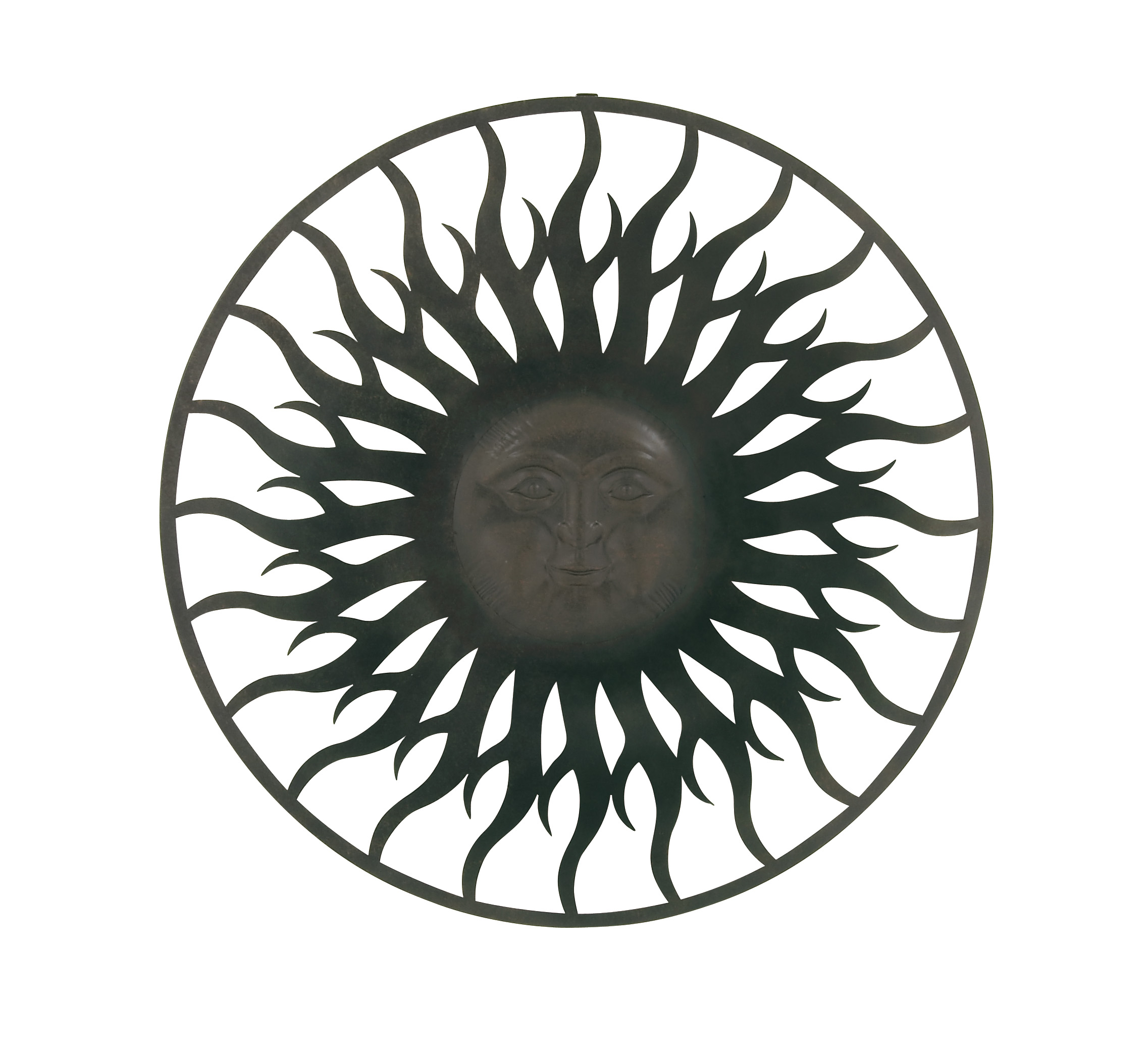 Graceful Metal Outdoor Sun Face Wall Plaque by Benzara
