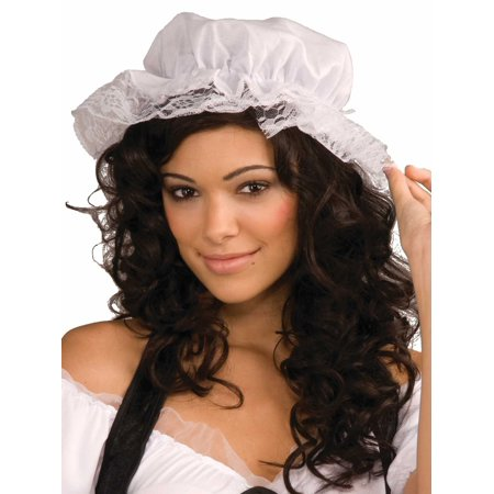 White Lace Bonnet Costume Mop Cap Colonial Mob Pioneer Adult - Pioneer Costumes