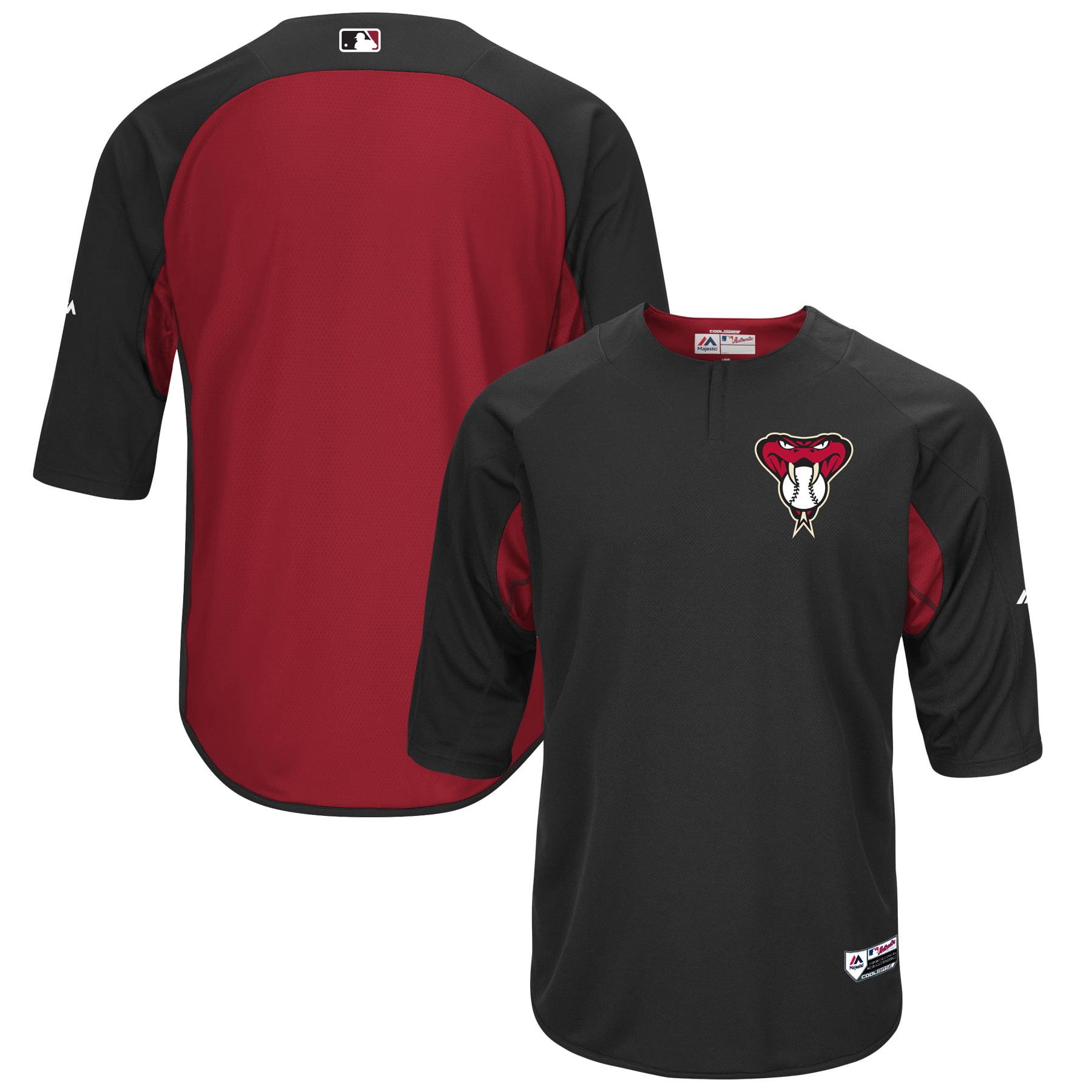 Arizona Diamondbacks Majestic Authentic Collection On-Field 3/4-Sleeve Batting Practice Jersey - Black/Sedona Red