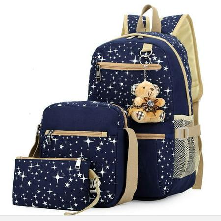 Smarit - Girls  Canvas Backpack Set 3 Pieces Patterned Bookbag Laptop  School Backpack Schoolbag - Walmart.com b3f4116d2952b