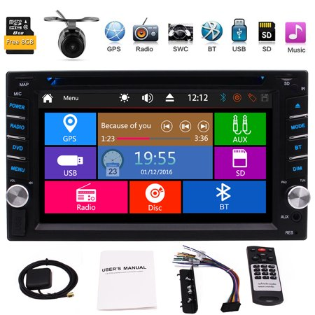 EinCar 6.2 Inch Universal Double 2 Din In Dash Car CD DVD Player GPS Stereo Radio FM AM BT AUX USB RDS + FREE MAP CARD +Remote Control +Dual Card Slot + Free (Pioneer Car Stereo With Sd Card Slot)