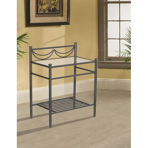Metal Nightstand with Glass Top, Black