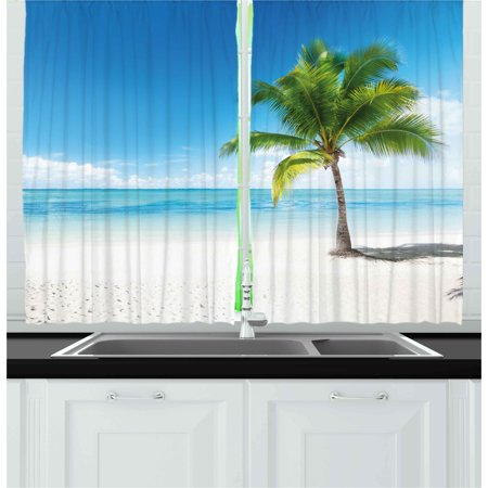 Landscape Curtains 2 Panels Set, Caribbean Maldives Beach Island Sea Ocean Palm Trees Artwork Print, Window Drapes for Living Room Bedroom, 55W X 39L Inches, Sky Blue Green and White, by Ambesonne