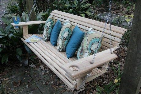 5 Foot Handmade Cypress Porch Swing with Cupholders by Southern Cypress Porch Swings