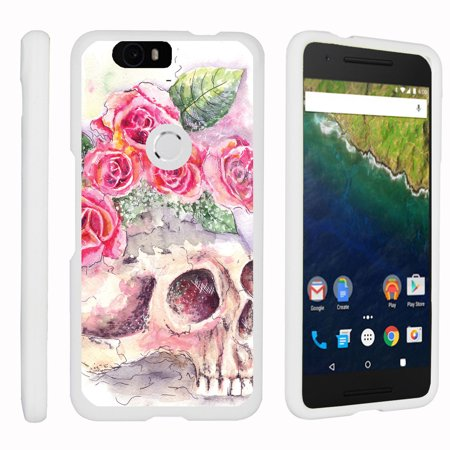 Huawei Google Nexus 6P   Snap Shell  White  Hard White Plastic Case With Non Slip Matte Coating With Custom Designs   Flower Skull