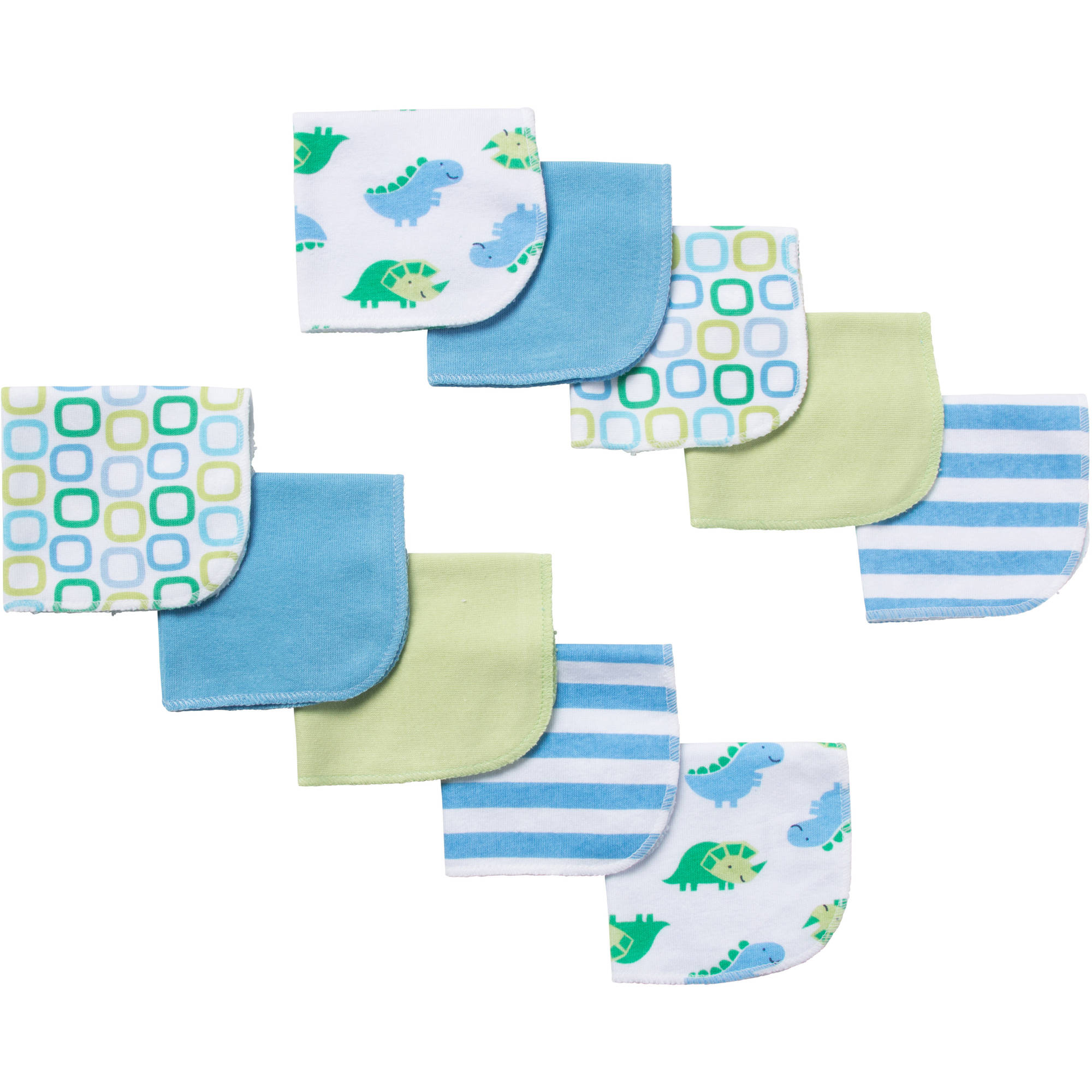 Gerber Newborn Baby Boy Terry Printed Dinosaur Washcloths - 10 pack