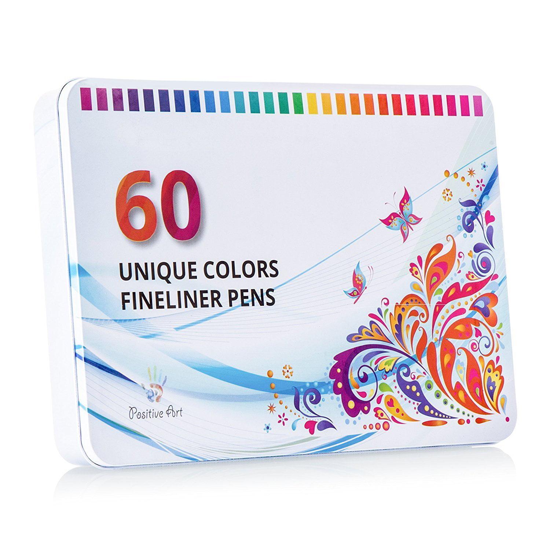 Positive Art Fineliner Coloring Pen Set 60 UNIQUE COLORS With Metal Case, Colorful Ultra... by