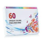 Positive Art Fineliner Coloring Pen Set 60 UNIQUE COLORS With Metal Case Colorful Ultra Fine
