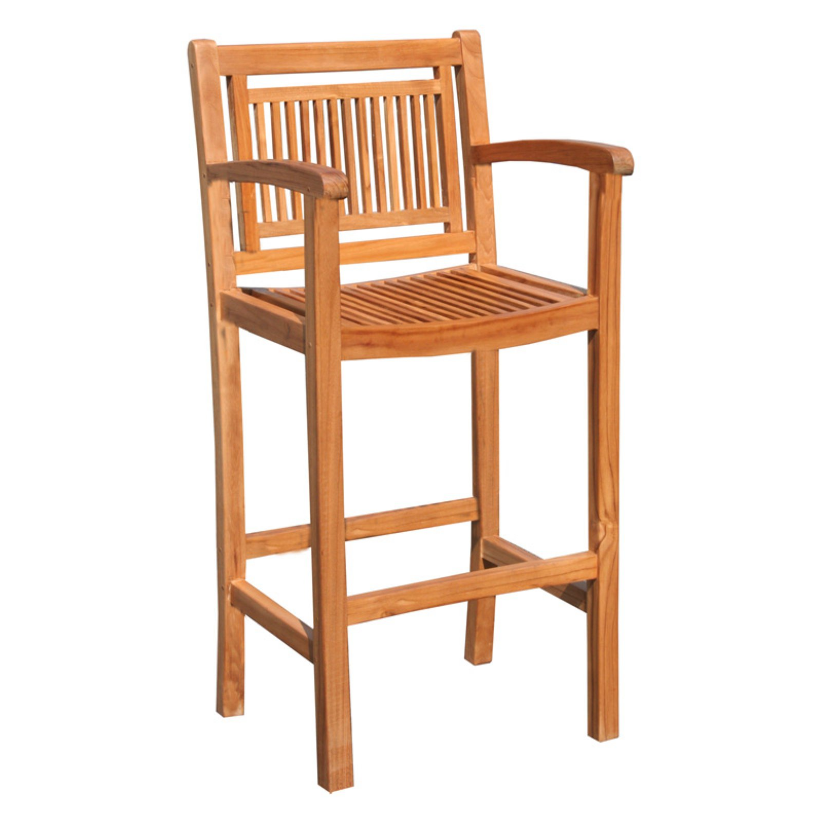 Chic Teak Maldives Teak Outdoor Barstool with Arms